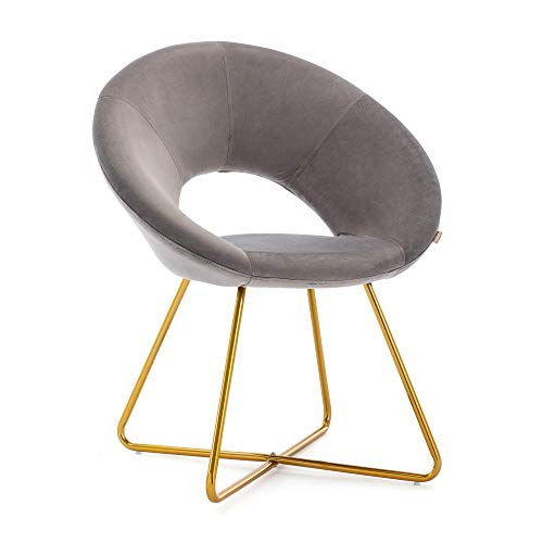 HNNHOME® Porto Soft Velvet Upholstered Kitchen Dining Chair Home Living room Lounge Armchair Leisure in Gold coloured Legs (Grey)