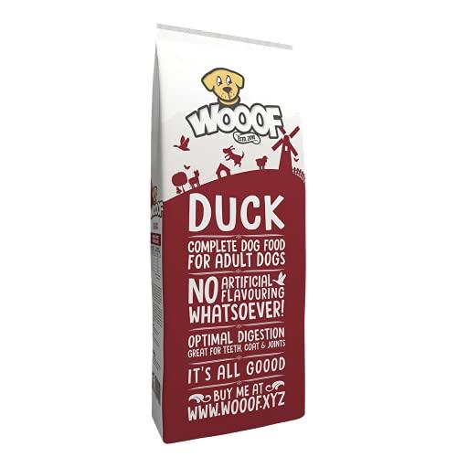 WOOOF Ente 18kg kaltgepresstes Hundefutter | Purinarmes Trockenfutter, leicht verdaulich, ohne Weizengluten, für empfindliche Hunde