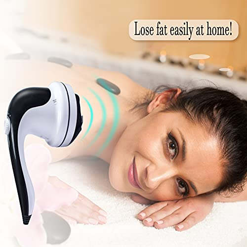 Handheld Cellulite Remover Electric Back Massager - Portable Anti Cellulite Massager with 4 Different Massage Heads for Neck Shoulders Arm Back Waist Belly Legs Foot Calf Muscle