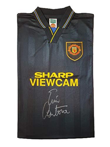 Manchester United 1994 Auswärtstrikot von Eric Cantona, schwarz signiert – MUFC Manchester United Fußballclub Autogramm, Fanartikel, Souvenir, Geschenk ...