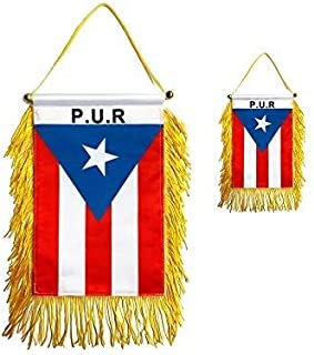 Best GentleGirl.USA 2 Packs Puerto Rico Car Flag Window Hanging Flag, With Stick no Suction Cup Small Mini Puerto Rican Rearview mirror Banner Flags, International Festival Party Parade,car Home Decoration Review
