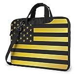 Oro y Negro Bandera Americana de EE. UU. Bolso para computadora portátil Funda Protectora para computadora portátil Bolso antiarañazos Bolso de Hombro