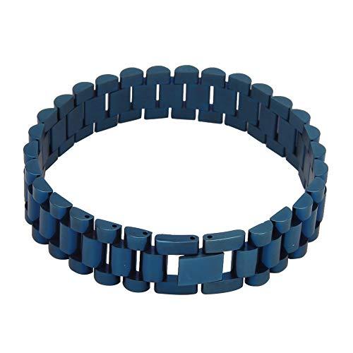 Cadena de reloj de acero inoxidable estilo hip hop de 1,5 cm para hombre, color azul y negro, cadena de galvanoplastia (oro, plata, azul, negro), joyería, regalo, 123, color, negro