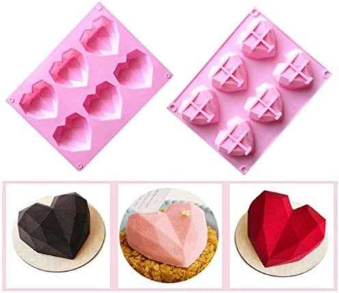 6 Cavity 3D Love Heart Diamond Shaped Mold Silicone Bakeware Molds Chocolate Soap Pudding Cake product image