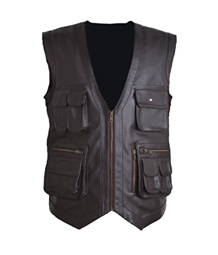 HLS Jurrasic Park Vest Faux Leather Vest (2XL) Brown