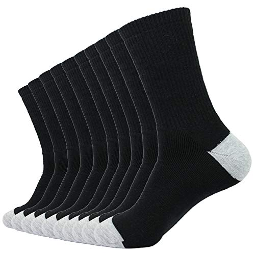 Enerwear 10P Pack Men's Cotton Moisture Wicking Extra Heavy Cushion Crew Socks (10-13/shoe size...