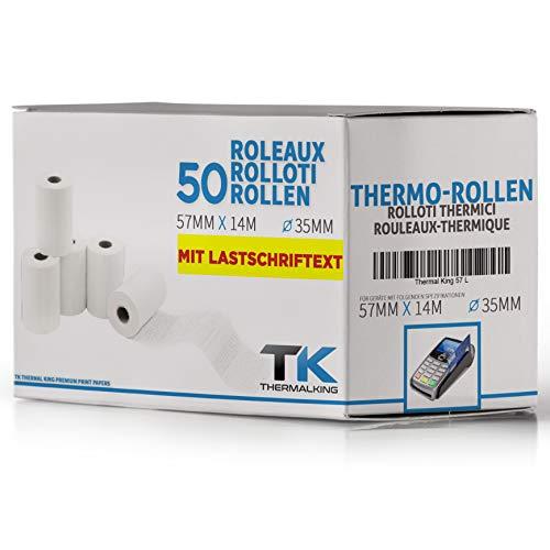 Premium EC Cash Thermorollen mit SEPA-Lastschrifttext | B: 57mm – DM: 40mm – Kern DM: 12mm – L: 14m für Bondrucker, Kassendrucker, Tischrechner, Bluetooth-Drucker (50 Rollen)