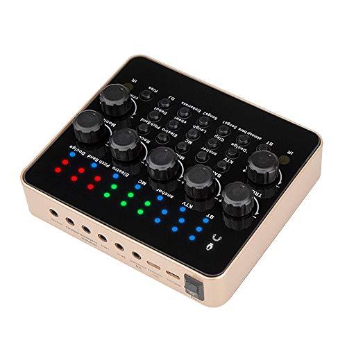 Scheda audio esterna, multi-funzionale V10 effetti sonori digitali mixer audio USB microfono portatile scheda audio Live Sound Card, ideale per registrazione dal vivo, Home KTV, Chat vocale, ecc.
