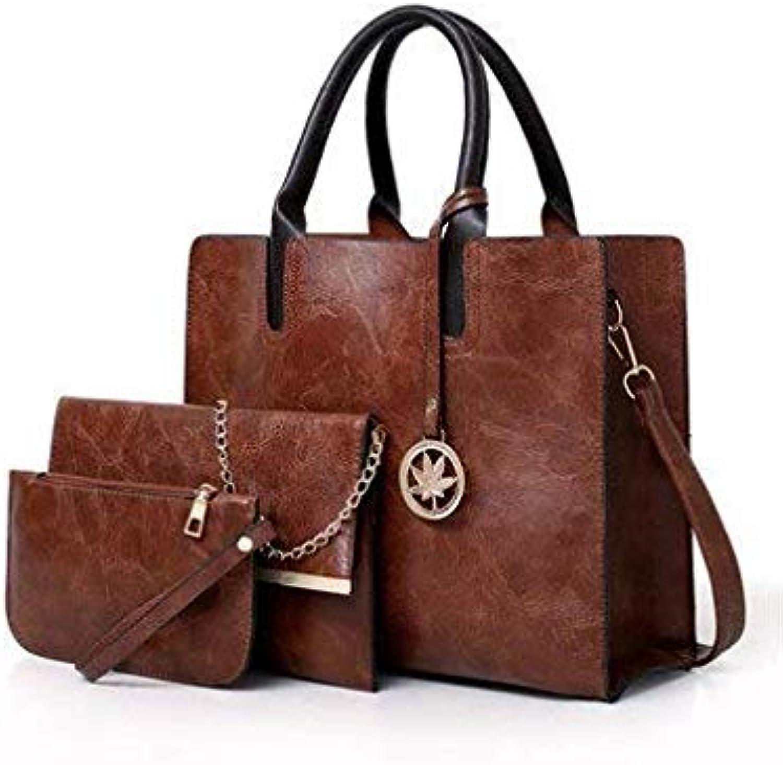 Bloomerang High Quality Pu Leather Handbags Tote Bag 3 Pcs Set Women Bag Chain Shoulder Crossbody Bags for Women Small Clutch Purse Female color Sky blueee 32cm