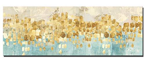 Fajerminart Leinwand Drucke Moderne Bild Wandkunst - Goldene Abstrakte Malerei Leinwand Gemälde Wandkunst Dekor Geeignet Wohnzimmer, Schlafzimmer, Büro Wandmalerei, Kein Rahmen (70x210cm)