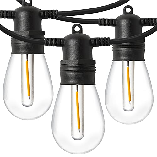 LED Outdoor String Lights 48FT with 15 Edison Vintage Shatterproof Bulbs and Commercial Grade...
