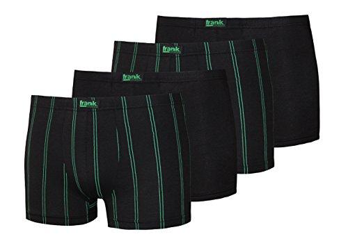 Frank Fields Herrenslips Pack Herren Slip schwarz Uni und Streifen Baumwolle Unterhosen Männer, 1er oder 4er Pack Pack Gr 5 6 7 8 9 (7, Retroshort: 2X schwarz Uni 2X schwarz Streifen grün)