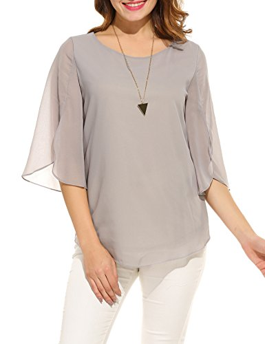 ACEVOG Womens Scoop Neck Blouses Solid Loose Casual Cuffed Sleeve Shirt Top (Grey S)