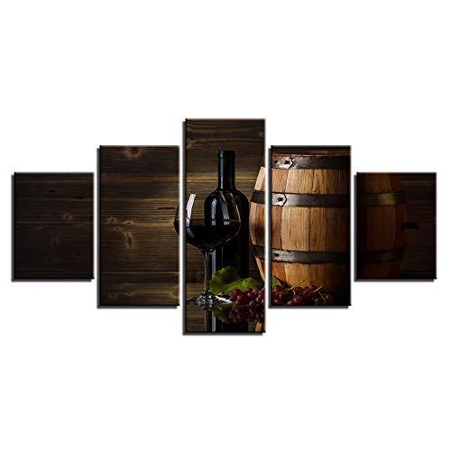 Barril de vino y lienzos de vino Impresiones de arte 5 paneles Elementos de vida Foto impresa en lienzo Arte de la pared para la cocina Decoración del restaurante-(Tamaño B) con marco