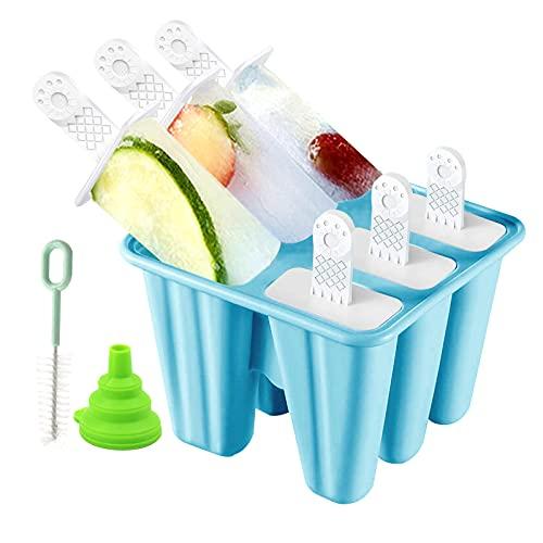 Moldes Helados - Poleras Helado Silicona,Reutilizable Moldes Para Helados con Juego de Moldes 6 Pack con Embudo y Cepillo, DIY Popsicle Mold Caseros para Bebe, Niño y Adultos