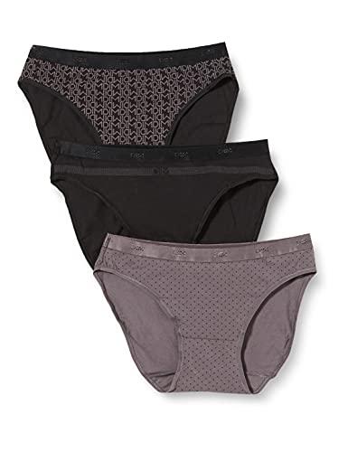 Dim - Pockets Coton - Slip - Quotidien - Lot de 3 - Femme - Noir (Lot Noir Logo) - FR : 40 (Taille fabricant : 40/42)