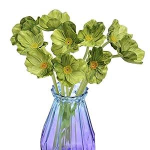 A Cup of Tea 10Pcs Modern Décor Poppy Flowers Artificial Floral Fake Plants for Flower DIY Arrangement