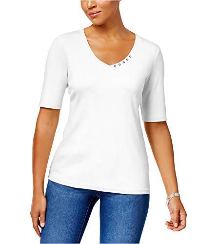 Price comparison product image Karen Scott Women's Elbow-Sleeve Cotton Top Bright White Medium