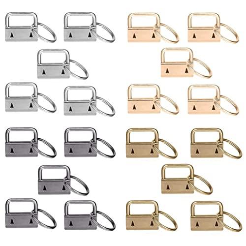 Angoily 20 Piezas de Llavero Conjunto de Herramientas para Llavero de Pulsera con Anillo Dividido para Llavero Suministros para Fabricación de Correas de Tela