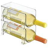 mDesign set da 2 portabottiglie vino – portabottiglie in plastica – porta vino impilabile per 1 bottiglia ciascuno – Colore: trasparente