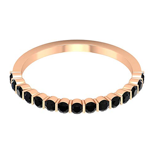Anillo de compromiso con diamante negro certificado 1/2 ct, declaración de mujer, anillo de oro, único de piedra preciosa, anillo de media eternidad, 14K Oro rosa, Size:EU 62