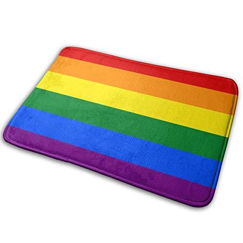 shenhaimojing Felpudo Bandera del Orgullo Gay Alfombra De Entrada Arcoíris Puerta Interior/Exterior Raspador De Zapatos Entrada, Garaje Y Lavandería Estera del Piso, 60X40Cm