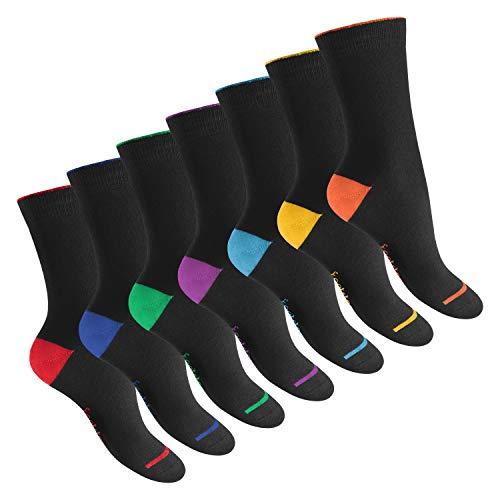 Footstar 7 Paar Socken abgesetzte Ferse EVERYDAY! BLACKLINE-35-38