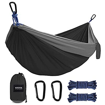 Kootek Double Camping Hammock Portable Tree Hammocks with 2 Hanging Ropes, Lightweight Nylon Parachute Hammocks for Backpacking, Travel, Beach, Backyard, Hiking