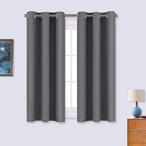 NICETOWN Bedroom Curtains Blackout Drapery Panels, Three Pass Microfiber Thermal Insulated Solid Ring Top Blackout Window Curtains/Drapes (Two Panels, 34 x 54 inches, Gray)