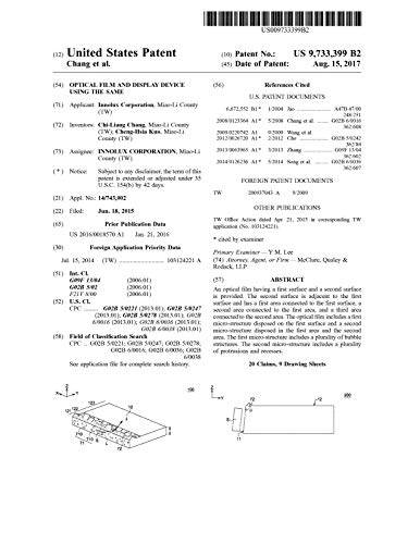 Optical film and display device using the same: United States Patent 9733399 (English Edition)