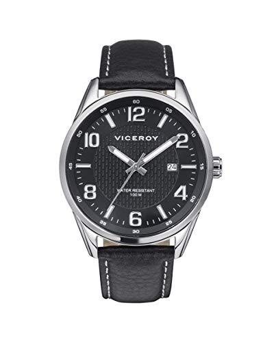 Reloj de Hombre Viceroy Magnum Tres Agujas de Acero y Correa de Piel Negra Ref: 401013-55