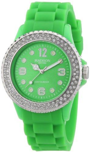 Madison New York Reloj Análogo clásico para Unisex de Cuarzo con Correa en Silicona U4101-F2