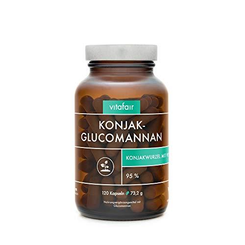 Glucomannan - 3000mg Konjakwurzel pro Tag - 120 Kapseln - 95{ec305e00d1e57acc400506d0cd57478f74ecbdb02f730fc480c77f7b2de7ccbe} - Hochdosiert - Vegan - Ohne Magnesiumstearat - German Quality