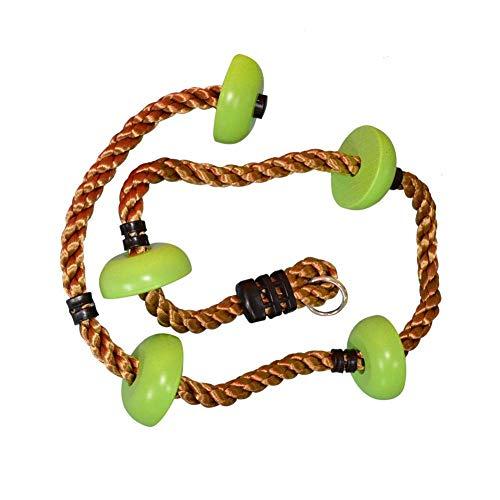 Ezeruier Cuerda de escalada para niños al aire libre, con pedales de gancho de seguridad, área de juegos para niños hecha de material resistente, utilizada para la cuerda de escalada en roca de escala