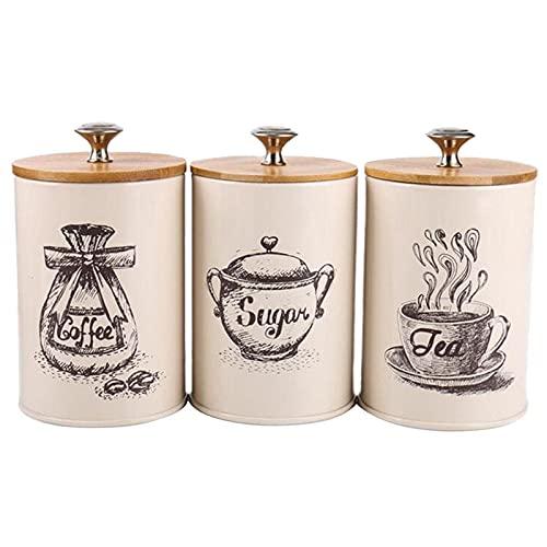 DorisAA Tarros de almacenamiento para cocina, 3 unidades, retro, para té, café, azúcar, tarros