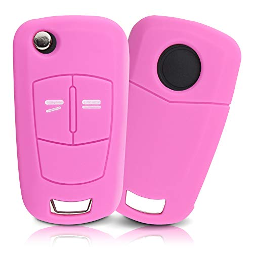 ASARAH Premium Silikon Schlüsselhülle geeignet für Opel, Schutzhülle Autoschlüssel Cover - Pink OP 2BKB