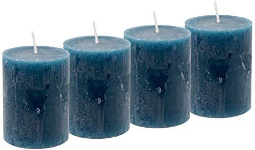 Unbekannt 4 Rustic Stumpenkerzen Kerzen Blau Petrol Tischdeko Party Deko Adventskerzen