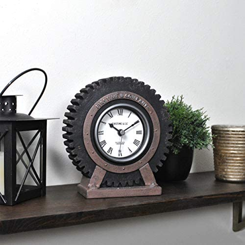 FirsTime Co Gear Tabletop Clock American Crafted Satin Black 5 x 3 x 6 product image