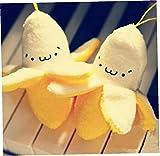 TOSSPER 2 Unids Plátano Peluche Juguete 7 Cm Kawaii Peluche Juguete Peluche Mini Llavero Juguete Colgante