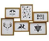 Smiling Art Marco de fotos collage para 6 fotos, de madera de densidad media con cristal (beige, 3 x 10 x 15 + 3 x 13 x 18 cm)