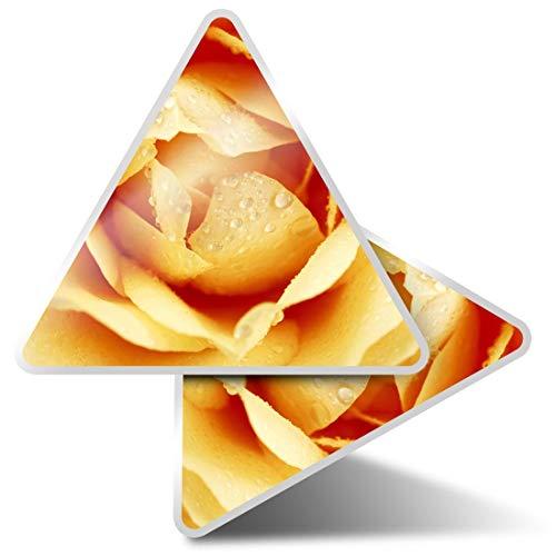 2 pegatinas triangulares de 10 cm, color amarillo cremoso rosa macro flor divertidas calcomanías para portátiles, tabletas, equipaje, reserva de chatarra, nevera #21398