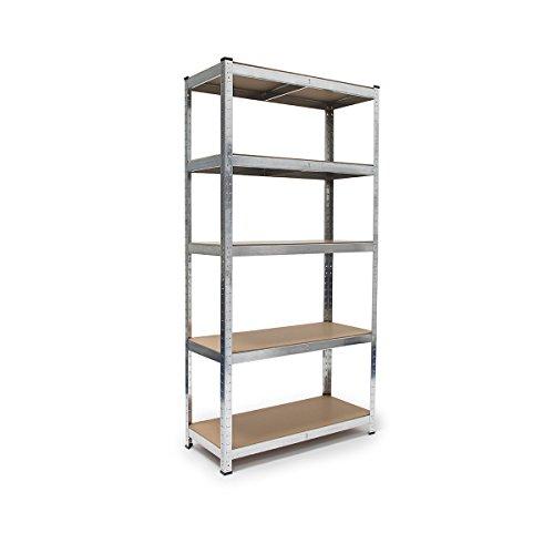 Relaxdays Schwerlastregal, HxBxT: 179 x 90 x 41 cm, verzinkter Stahl, Traglast 875 kg, Stecksystem, mit Werkbank, silber