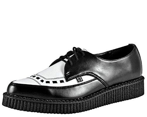 T.U.K. A8140 Pointed Creeper - Zapatos con Cordones para Hombre Unisex, Color Black/White, Talla 36