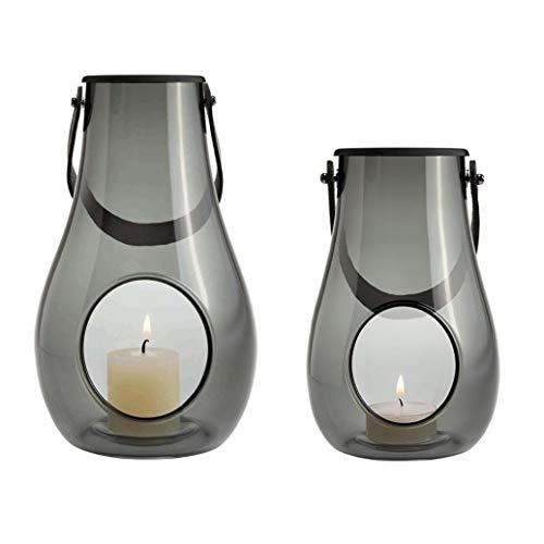 Holmegaard Design with Light Laterne 2er Set, Rauch 1x Laterne: H 25cm Ø 15,2cm 1x Laterne: H 16cm Ø 10,3cm