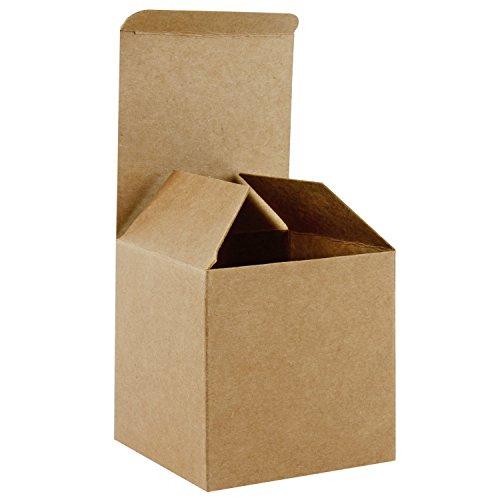 RUSPEPA Cajas De Regalo De Cartón Reciclado - Cajas De Regalo Cuadradas Pequeñas con Tapas para Fiestas Y Manualidades - 8X8X8 cm - Paquete De 20 - Kraft