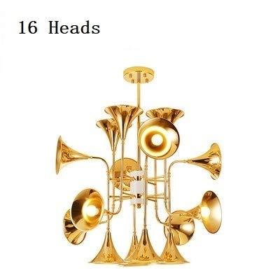NB YULUBAIHUO Nordic Gold Trompete Pendelleuchten Multi Heads Kronleuchter Lichter Moderne kreative Persönlichkeit Kunst Vintage Retro Horn Hängeleuchten (Body Color : 16 Heads)