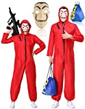 La Casa De Papel Disfraz Halloween Unisex Sudadera con Capucha The Paper House Overol Salvador Dalí Cosplay Party Rojo Adulto Jumpsuit - Rojo - Large