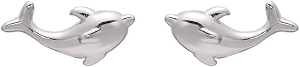 ICYROSE 925 Sterling Silver Small Crystal Dolphin w//Synthetic Pearl Ear Studs 21723