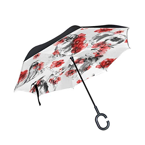 Double Layer Inverted Umbrella Winddichte Regensonnen-Regenschirme mit C-förmigem Griff - Oriental Lap Dogs Cherry Blossom Seamless