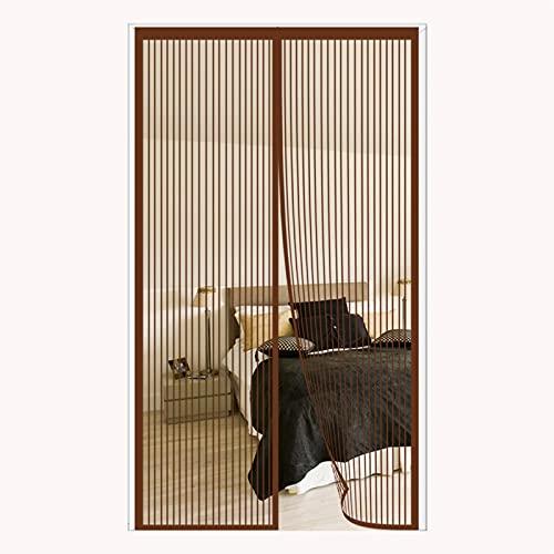 FANGJIE Mosquitera Magnética 85x205cm Cortina Ultrafina Pantalla De Insectos Personalización de Soporte para Puertas Correderas/Balcones/Terraza, Marrón